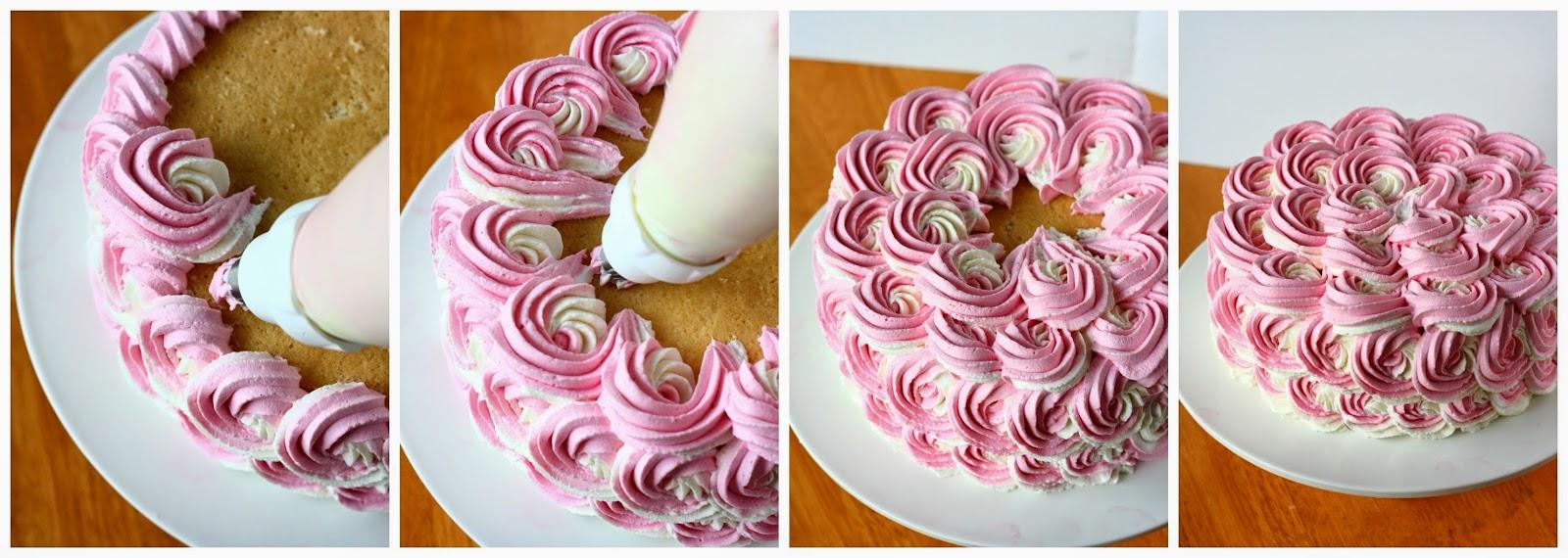 Suklaapossu: Kakku kaksivärisillä ruusupursotuksilla
