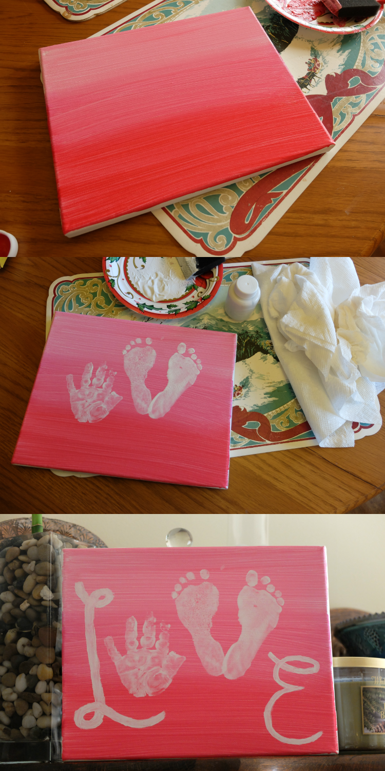 Sweet Turtle Soup: Valentine's Day - Love Handprint and Footprint Canvas Art