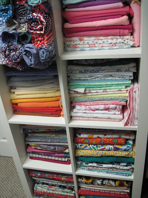 Fabric stash organization.