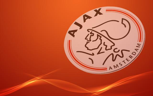 Ajax logo met oranje achtergrond