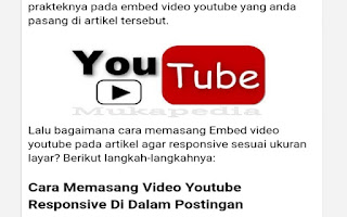 Cara Memasang Video Youtube Responsive Di Dalam Postingan Dengan Embed