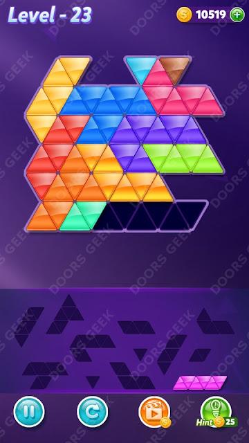 Block! Triangle Puzzle 12 Mania Level 23 Solution, Cheats, Walkthrough for Android, iPhone, iPad and iPod