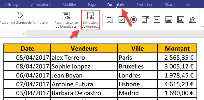 Extraire données pdf vers Excel