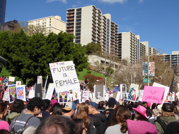 Womens March LA The future is female sign