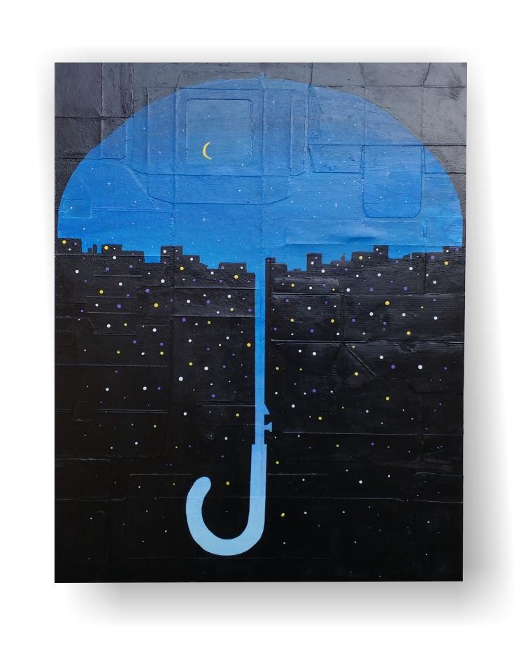 quadro com reaproveitamento de embalagens representando uma cidade em forma de guarda-chuva