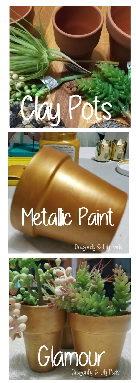 Pinterest Image of Steps to make Clay Pots Glamour style
