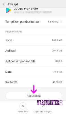 Hapus Data Untuk Mengatasi Autentikasi Google di Play Store