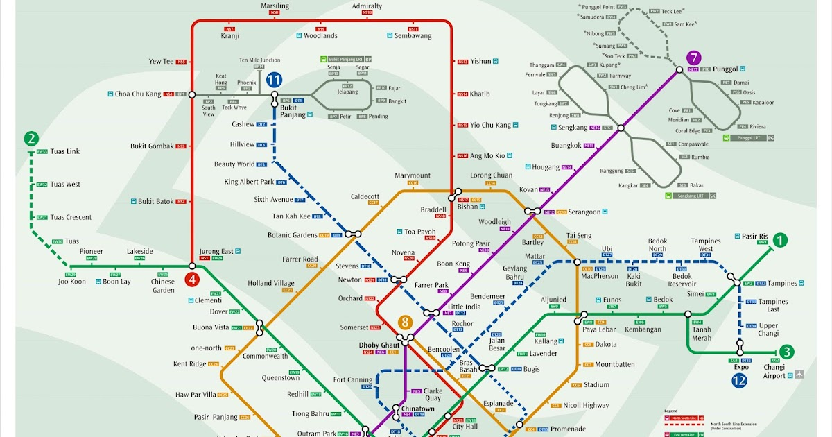 Singapore Subway Map 2014.New Mrt Map Updated With Downtown Line Singapore S Land Transport