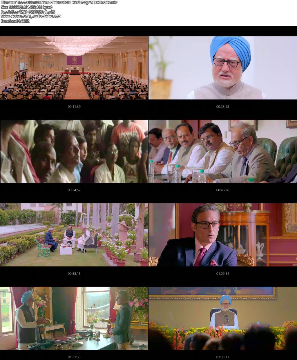 The Accidental Prime Minister 2018 Hindi 720p WEBHD x264 | 480p | 300MB | 100MB HEVC Screenshot
