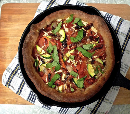 let's make veggie loaded deep dish pizza!