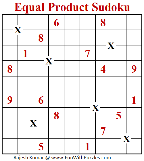 Equal Product Sudoku (Daily Sudoku League #156)