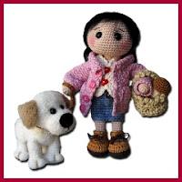 Amigurumi niña con perrito