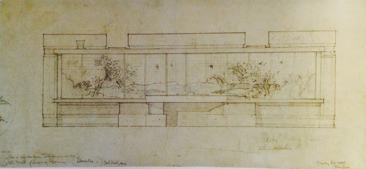 Frank Lloyd Wright 1867 1959 Dining Room Wall Elevation Showing Placement Of A Pair Anese Screens 1906 Graphite And Colored Pencil On