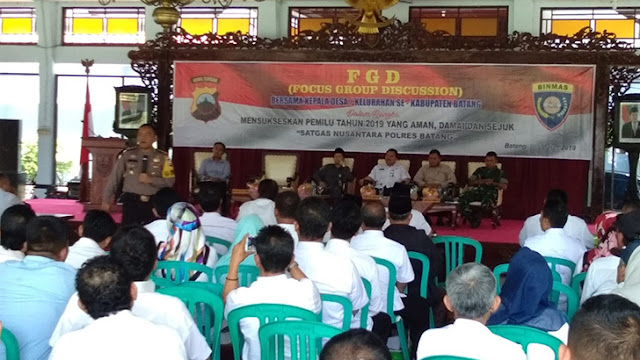 Jelang Pemilu 2019, Polres Batang Gelar Forum Group Discusion (FGD) Jaga Kebhinekaan