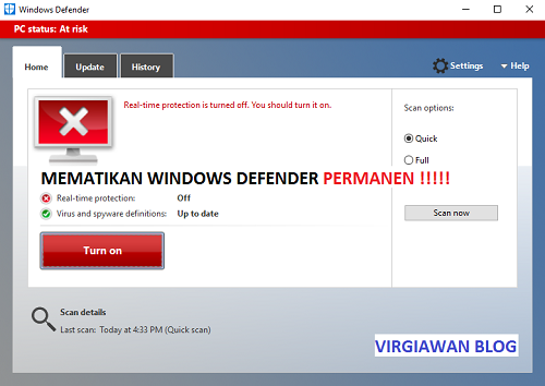 Cara Mematikan Windows Defender Di Windows 10, 8, 7 Permanen
