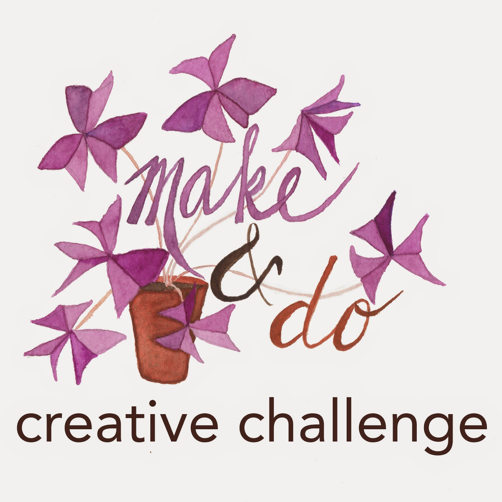 watercolor logo for make and do creative challenge