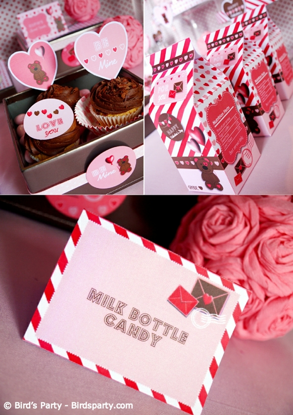 Valentine Day Dinner Party Ideas Part - 33: Valentineu0027s Day Party Ideas - Pink And Red Cookies And Milk Party And  Printables - BirdsParty