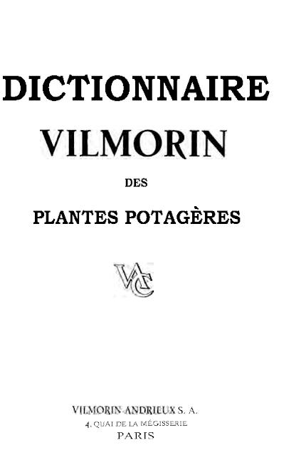 Dictionnaire vilmorin des plantes potagères à télécharger gratuitement