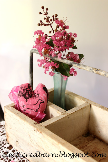 Eclectic Red Barn: White box with small vase, flowers and a fabric heart
