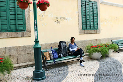 Sitting on the shaded bench at Largo de Santo Agostinho/ St. Augustine's Square, Natural Beauty And Makeup Blog