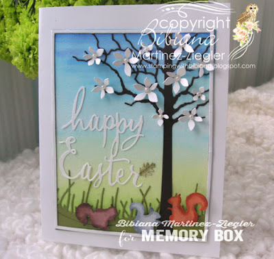 watercolor easter scene with memory box dies  last