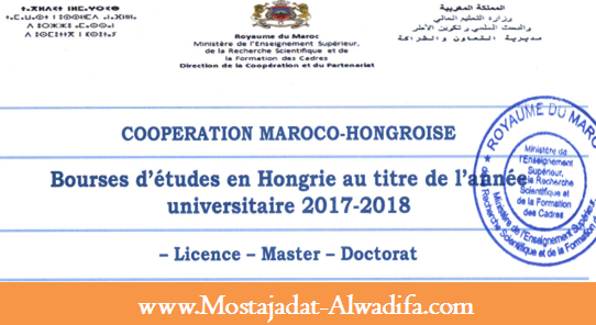 وزارة التعليم العالي والبحث العلمي 100 منحة للدراسة بهنغاريا برسم الموسم الجامعي 2018/2017، آخر أجل هو 15 مارس 2017