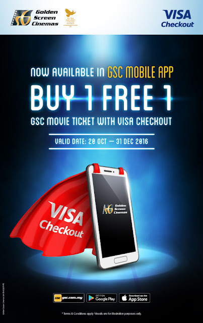 GSC Movie Ticket Buy 1 Free 1 Visa Checkout Promo