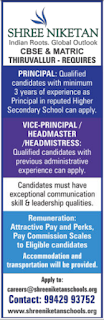 Shree Niketan Group of Schools Wanted Principal/Vice Principal/Headmaster/Headmistress