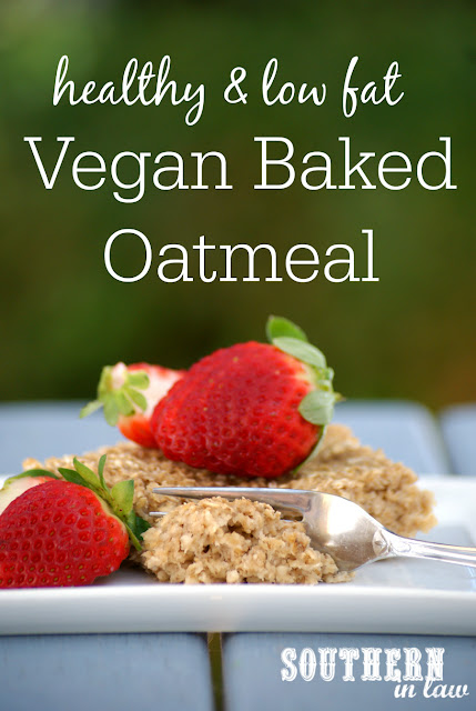 Easy Vegan Baked Oatmeal Recipe - low fat, gluten free, healthy, vegan, nut free, egg free, dairy free, clean eating recipe, meal prep