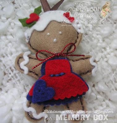 gingerbread ornaments in felt girl