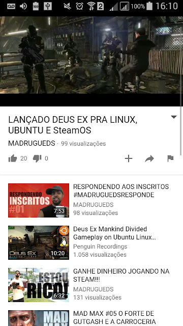 Nova interface usando o Youtube