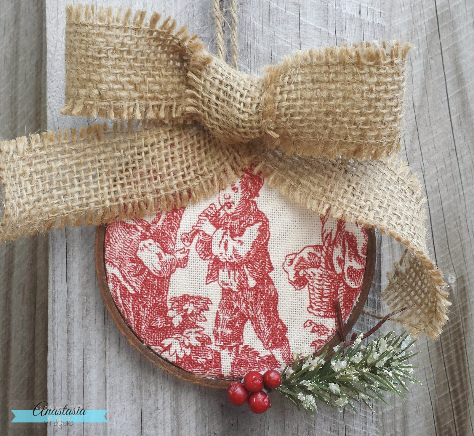 repurposed embroidery hoop Christmas ornament toile burlap