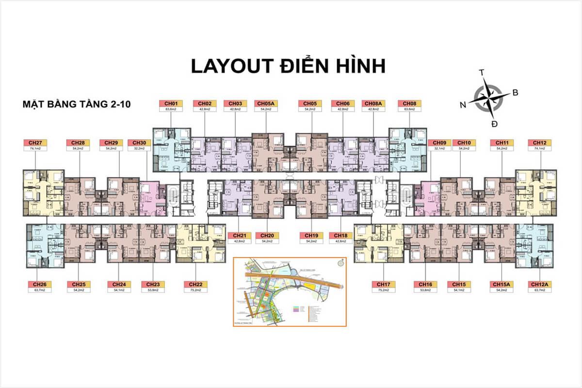 Tầng 2-10 Toà H3 Vincity Sportia