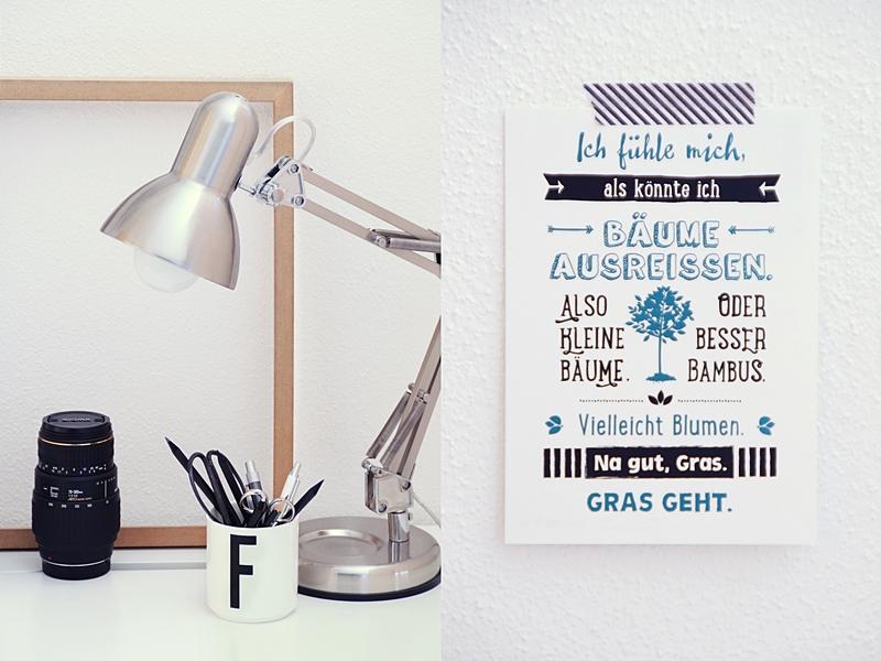 Schreibtisch modern skandinavisch und schlicht dekorieren mit Accessoires in Schwarz/ Weiß/ Naturtönen und silberner Lampe für den Februar