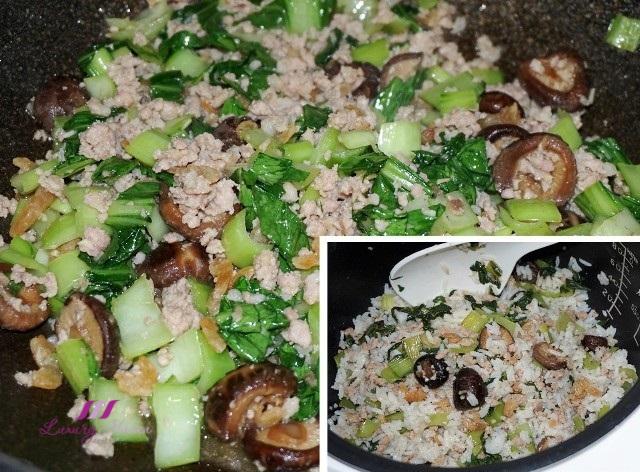 chinese stir fried minced pork baby bok choy