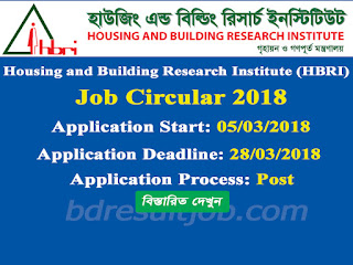 Housing and Building Research Institute (HBRI) Job Circular 2018