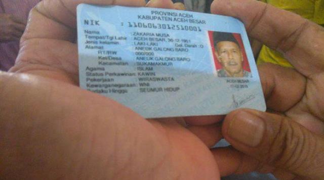 Zakaria Musa, informasi diKTP-nya, pria kelahiran Aceh Besar 30 Desember 1951 itu tercatat sebagai warga Aneuk Galong Baro, Kecamatan Suka Makmue, Aceh Besar.