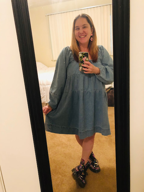Nuuly, clothing rental, subscription box, fashion, Free People Lou Jean Babydoll Denim Dress