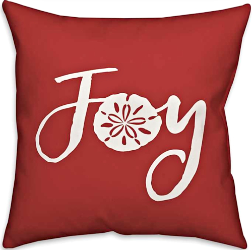 Red Coastal Christmas Joy Pillow