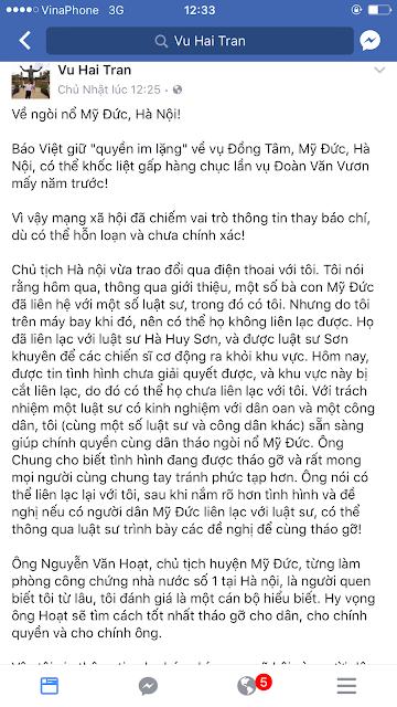 Dân Đồng Tâm chớ có tin kẻ dối trá, lươn lẹo như LS Trần Vũ Hải