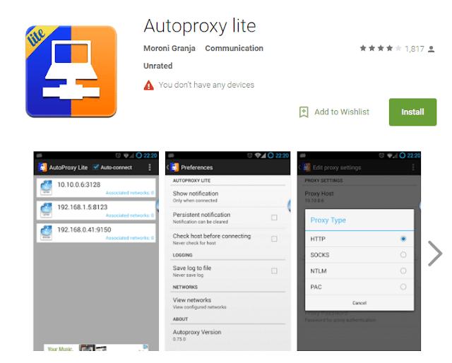 Cara membuka situs yang diblokir android dengan Aplikasi Auto Proxy