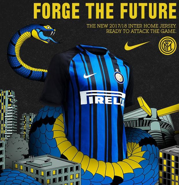 Le nouveau maillot domicile pour 2017/ 2018 de l'Inter Milan