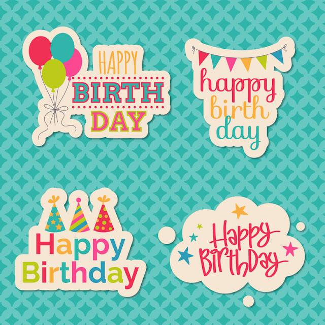 Happy Birthday stickers - Free Vector