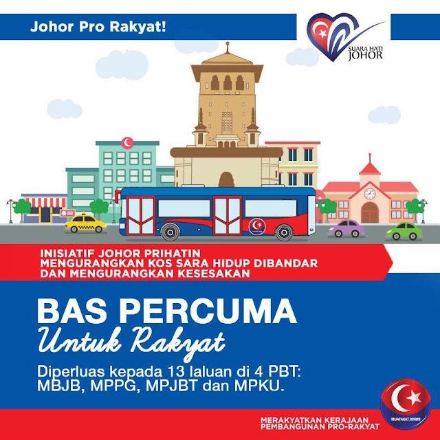 Perkhidmatan Bas Percuma di Johor Diperluaskan