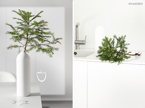 Tannenbäume in der Vase - Dekoidee für Weihnachten