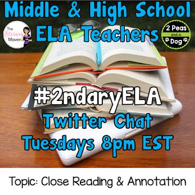 Join secondary English Language Arts teachers Tuesday evenings at 8 pm EST on Twitter. This week's chat will be about close reading and text annotation.