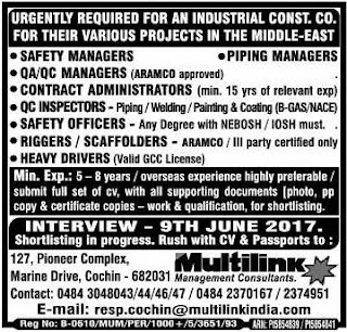 Industrial Construction company jobs in Middle East