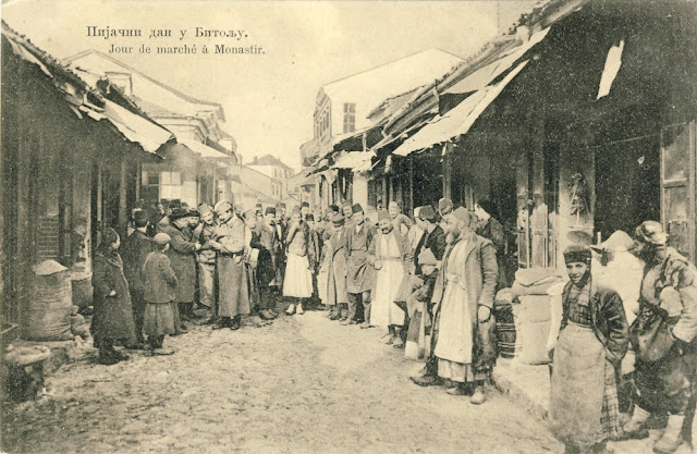 Market day in Bitola - Serbian postcard issued during the Balkan Wars 1912-1913