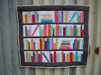 Bookends Mini bookshelf library quilt pattern with library pocket and card label