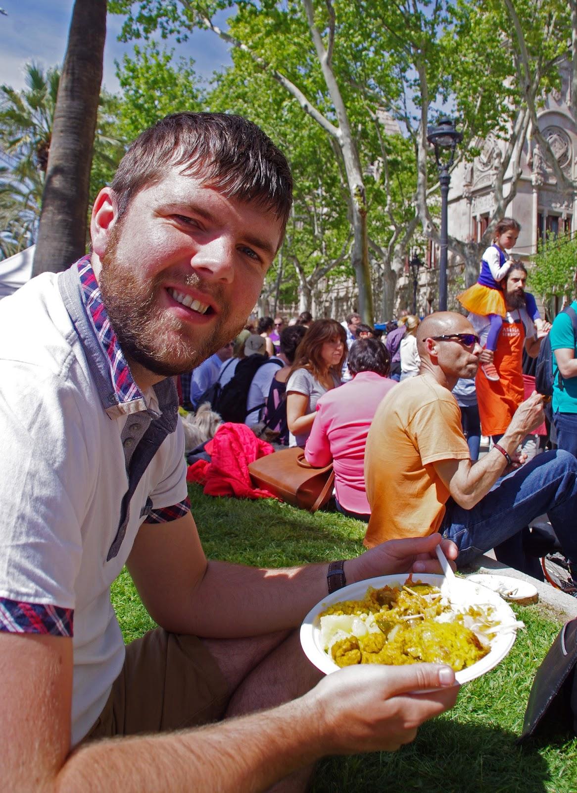 Dan at vegetarian street market in Barcelona